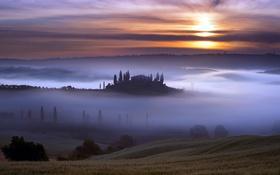 Обои туман, небо, закат