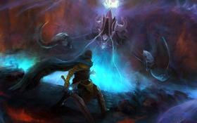 Обои Diablo III, Reaper of Souls, арт, меч, мужчина, Malthael, битва