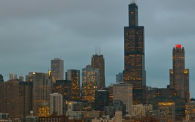 Картинка США, город, Иллиноис, небоскребы, вечер, Чикаго