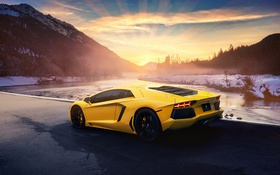 Обои Lamborghini, Sunset, Yellow, LP700-4, Aventador, Supercar, Rear