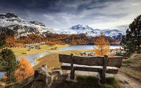 Картинка осень, горы, река, скамья