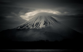 Картинка птица, гора, Япония, облако, Фудзияма, стратовулкан, 富士山