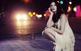 Картинка улица, Брюнетка, азиатка, ночной город