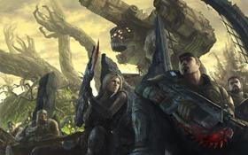 Картинка война, gears of war 3, marcus fenix, Damon S. Baird, Anya Stroud, Brumak, Minh Young ...