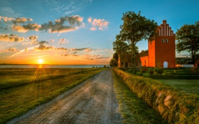 Обои Германия, дорога, sunset, поле, field, HDR, road