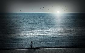 Обои утро, прогулка, море