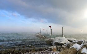 Обои лёд, знаки, пейзаж, море
