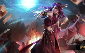 Обои карты, девушка, пламя, волшебница, Heroes of Newerth