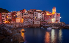 Обои Телларо, лодка, Италия, дома, море, огни, башня