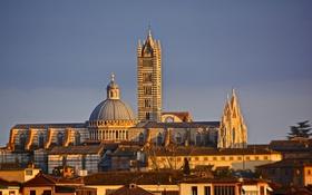 Обои небо, башня, дома, Италия, собор, купол, Тоскана