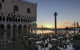 Обои отражение, рассвет, утро, Италия, Венеция, дворец Дожей, пбяцетта