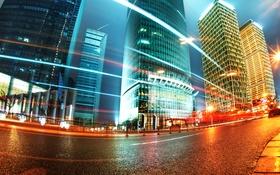 Картинка Китай, Гонконг ночью, Легкие трассы в Шанхае