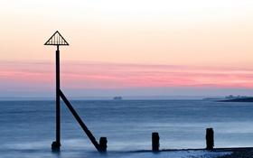 Обои море, пейзаж, закат, знак