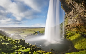Обои пейзаж, река, ручей, гора, водопад, поток, долина