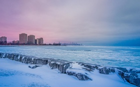 Обои зима, снег, небоскребы, Чикаго, USA, Chicago, мегаполис