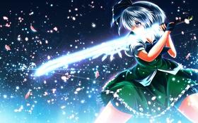Картинка девушка, меч, арт, touhou, клинок, konpaku youmu, nekominase