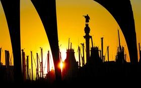 Картинка небо, закат, колонна, гавань