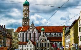 Обои башня, дома, Германия, Бавария, площадь, собор, Аугсбург