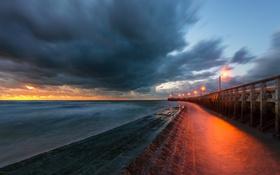 Картинка море, ночь, мост