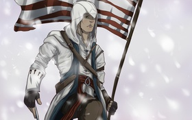 Обои флаг, американский, assassins creed 3, connor