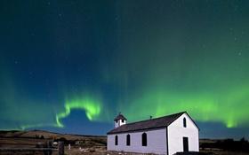 Обои небо, северное сияние, церковь