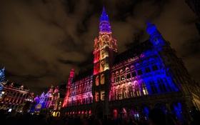 Обои ночь, огни, люди, дома, площадь, Бельгия, Брюссель