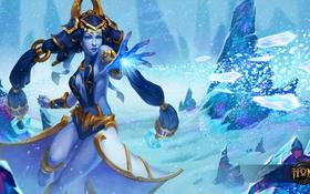 Обои moba, Snow Queen, Shiva, Heroes of Newerth, art, магия, снег