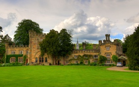 Обои облака, деревья, газон, Великобритания, монастырь, Hall, Bolton Abbey