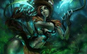 Обои девушка, растения, арт, когти, league of legends, zyra