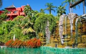 Обои вода, голова, скульптура, отель, каскад, Asia Gardens, Caras de Angkor