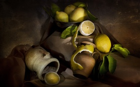 Обои лимон, еда, фрукты