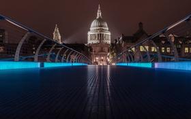 Обои город, ночь, посветка, Лондон, мост