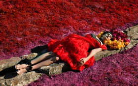 Картинка девушка, стиль, обои, актриса, red, girl, журнал