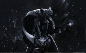 Картинка ночь, город, игра, герой, Бэтмен, полёт, game wallpapers