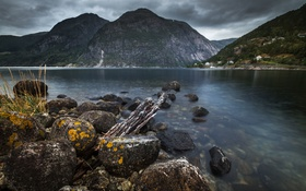 Обои mountains, clouds, village, stones, Norway, bush, Fjord