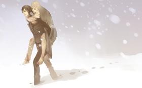 Картинка снег, кровь, буря, парни, art, harry potter, remus lupin