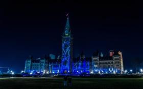 Картинка ночь, огни, Канада, здание парламента, световое шоу, Оттава