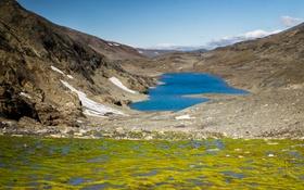 Обои озеро, горы, вода, небо