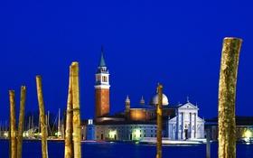 Обои небо, ночь, огни, Италия, церковь, Венеция, канал