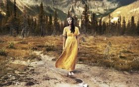 Картинка девушка, фон, природа