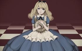 Картинка девушка, часы, арт, Алиса, бант