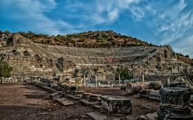 Обои развалины, руины, Турция, амфитеатр, Эфес