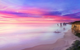 Обои earth, fire, water, fog, 12 Apostles are