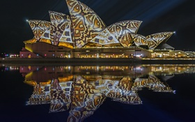 Картинка Сидней, театр, Австралия, отражение, огни, небо