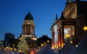 Обои Германия, площадь, Рождество, Берлин, ярмарка, Жандарменмаркт, Немецкий собор