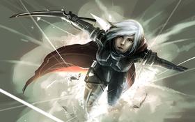 Обои девушка, белые волосы, меч, взрыв