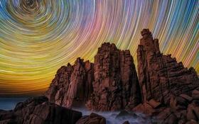 Обои Австралия, Cape Woolamai, Виктория, небо, скалы, звезды