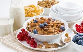 Обои ягоды, завтрак, молоко, орехи, смородина, миндаль, хлопья