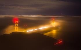 Обои ночь, огни, туман, Сан-Франциско, США, мост Золотые ворота