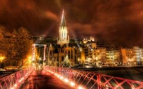 Картинка ночь, мост, огни, река, Франция, дома, Лион